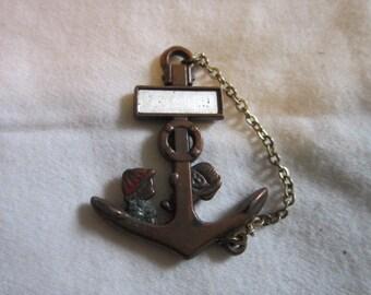 Vintage Comical Good Luck Ship 's Anchor Necklace Pendant