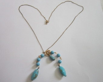 Antique Gold Filled & Beautiful Art Glass Beaded Necklace