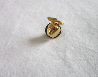 Vintage Gold Tone Teachers Pet Apple Pinback Pin