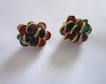 Vintage Large Retro Multicolored Bodacious Pierced Earrings