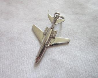 Vintage 60's Sterling Silver JET Airline Airplane Charm Bracelet Charm