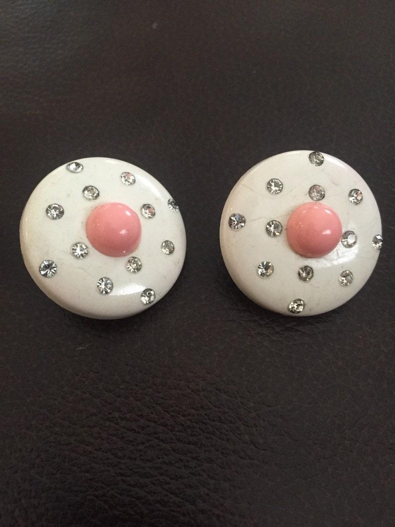 Cute! Antique Vintage Weiss Rhinestone Earrings