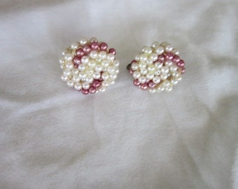 Antique Faux Purple & White Pearl Screw Back Earrings