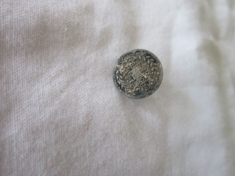 Antique Silver Foreign Coin Cuff Stud Button