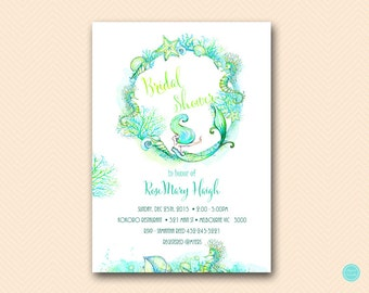 mermaid bridal shower bridal shower invitation mermaid baby shower invitation under the sea printable invitation bs446 tlc446