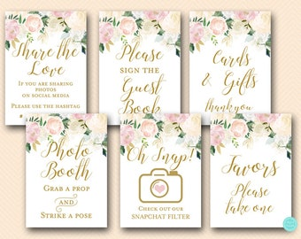 pink blush floral bridal shower table signs blush bridal shower signs decoration signs favors sign blush floral blush bs530z tlc530z