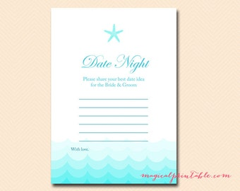 date night idea cards date ideas for couple nautical starfish beach theme bridal shower games bachelorette games wedding shower bs28
