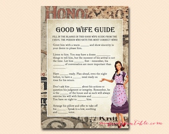 how to be a good wife guide game 1950s housewife bridal shower game printables retro bridal shower wedding shower games bs119