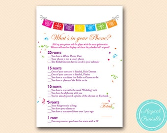 whats in your phone bridal shower cellphone game fiesta bridal shower game luau bridal shower games bachelorette wedding shower bs136