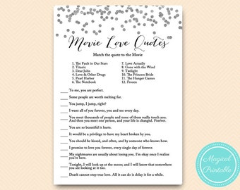 silver movie quote game famous quotes bridal shower movie love quote game confetti bridal shower bachelorette wedding shower bs149