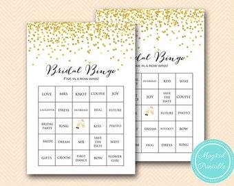 prefilled gold bridal shower bingo cards bridal words bingo gold confetti bridal shower games gold glitter bridal shower games mp bs46