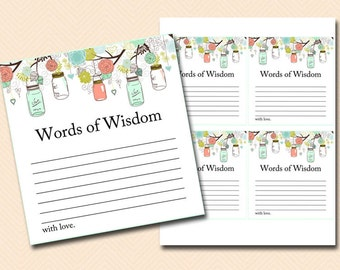 words of wisdom bridal shower words of wisdom baby shower words of wisdom cards mint and coral mason jars bridal shower printable bs64