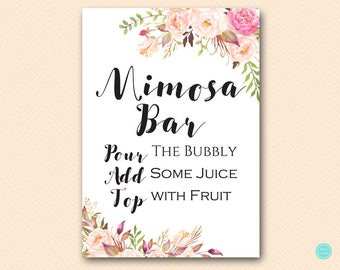 graphic relating to Free Printable Mimosa Bar Sign called Mimosa bar Etsy