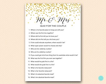 gold confetti mr and mrs quiz who knows the bride and groom best game printable bridal shower game bridal shower download bs472b bs46
