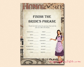finish the brides phrase 1950s housewife bridal shower game printables retro bridal shower wedding shower games bs119