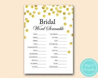 word scramble bridal word scramble modern gold confetti bridal shower game printable wedding shower bs144