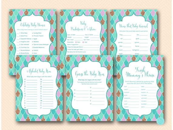Mermaid Baby Shower Games Package Download Baby Predictions Etsy