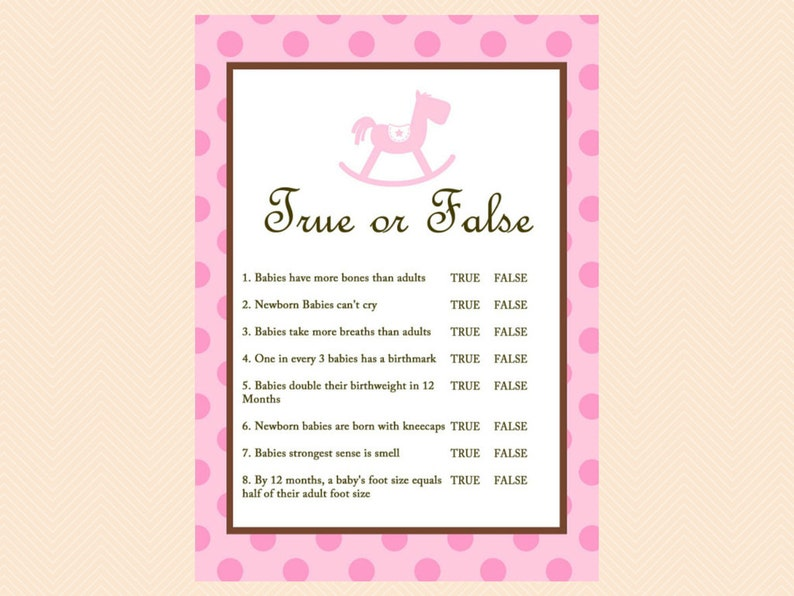 f318878865450 True or false baby shower games, Baby Trivia, Baby Facts, Pink, Baby Girl,  Rocking Horse Baby Shower Games Printables, Baby Shower TLC25