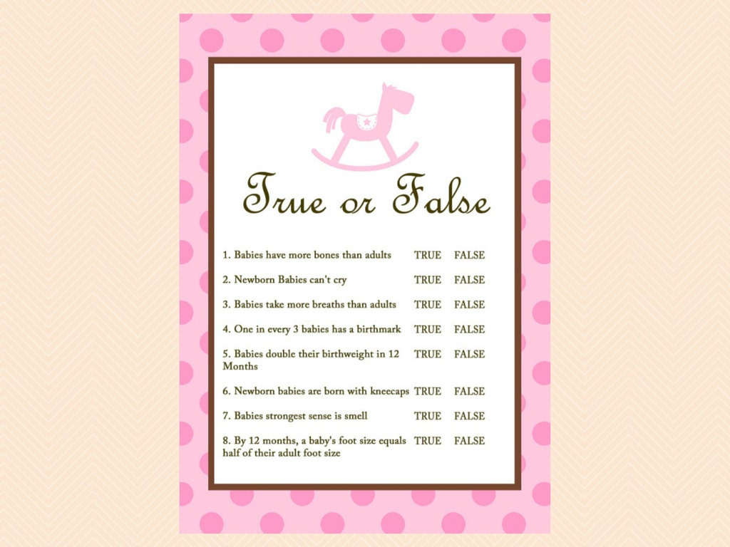 True Or False Baby Shower Games Baby Trivia Baby Facts Etsy