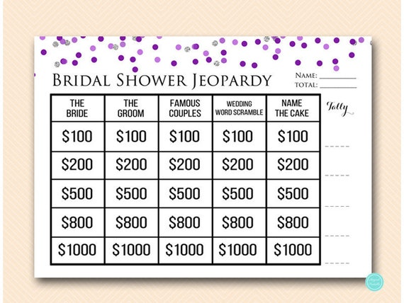 Purple Silver Jeopardy Bridal Shower Who Knows The Bride Who Etsy