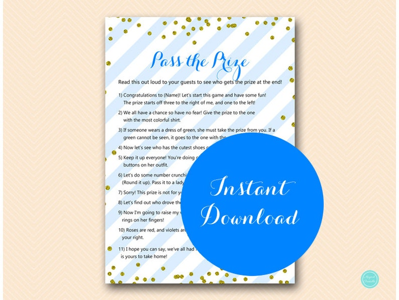 Prince Baby Shower, Pass the Prize, Pass the Parcel Game, Royal Prince Baby  Shower Game, Blue and Gold Baby Game Printable, TLC467
