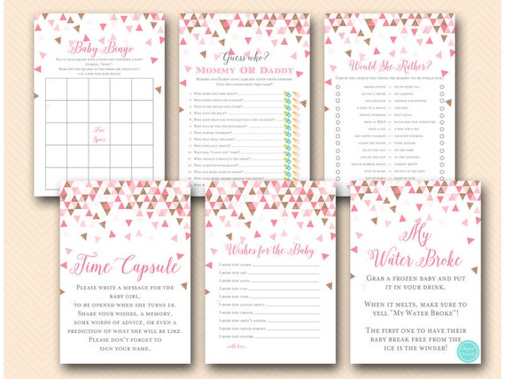 Pink Rose Gold Geometric Baby Shower Games Would She Rather Etsy