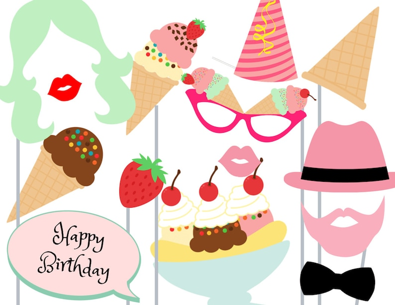 Print Yourself Icecream Shoppe Party Photo Booth Party Props image 0