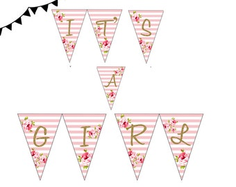 Gold Instant download, Pink White Floral Baby Shower Banner, Pink Stripes Baby Shower Pennant, It's a Girl Bunting TLC50