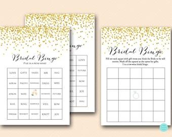Gold Bridal Shower Bingo Cards, Bridal bingo game, bridal bingo cards, bingo printable Gold Confetti Bridal Shower Prefilled Bingo BS46