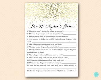 Gold Bridal Shower Games, The Newlywed Game, How well does the Bride know Groom, Bridal Shower Game, Bridal Shower Games Download BS472B dd