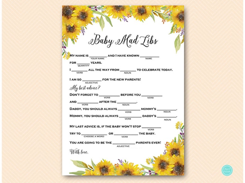 image about Summer Mad Libs Printable referred to as Summer time Sunflower Little one Shower Insane Libs, Crazy Lib Little one Shower, Kid Shower Game titles, Youngster Shower Video games Printable, Routines, TLC537
