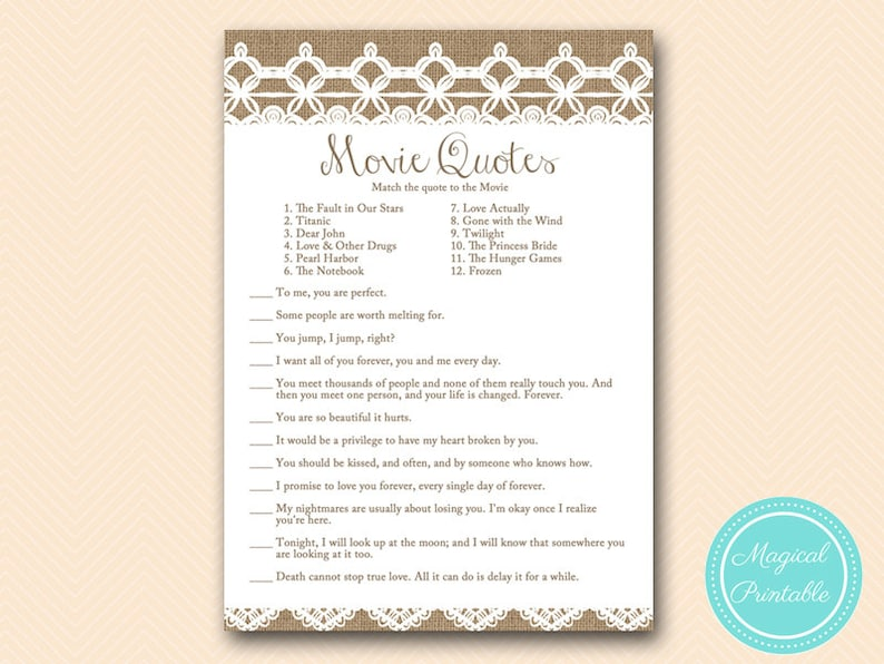 movie quote game, match love movie quotes, printable, Rustic, Burlap Lace  Bridal Shower Game download, Bachelorette, Wedding Shower BS173