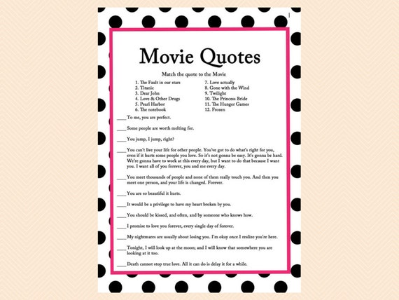 Movie Quote Game Famous Love Quotes Game Movie Game Black Etsy