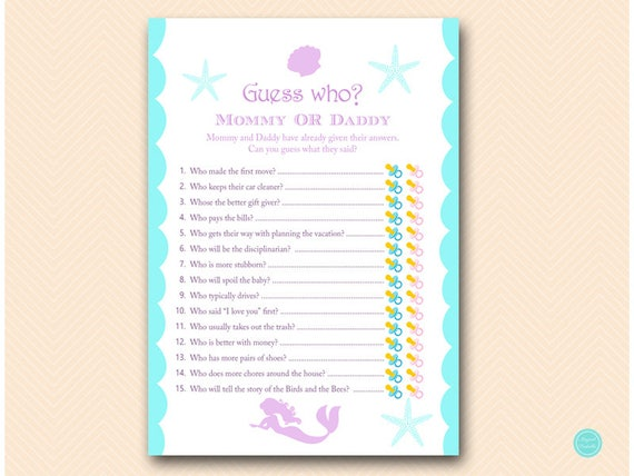 Mermaid Mommy Or Daddy Game Guess Who Baby Shower Game Etsy
