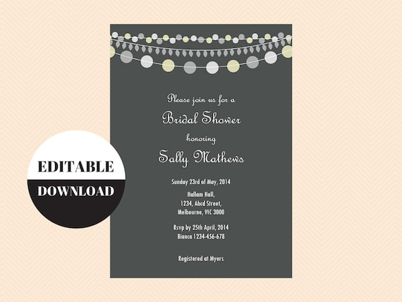 Editable baby shower invitations editable bridal shower etsy image 0 filmwisefo