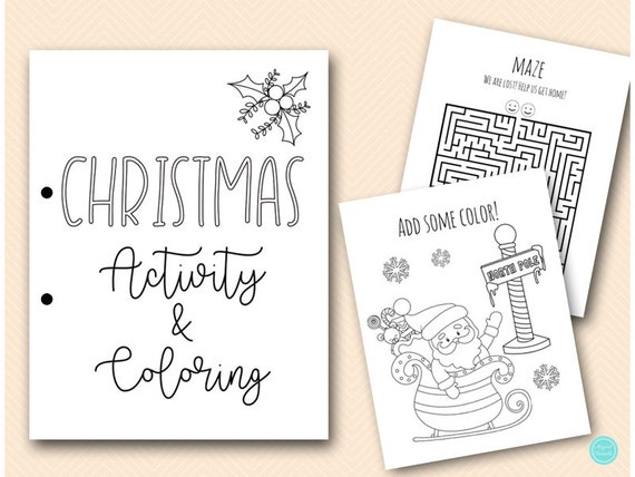 Christmas Kids Coloring And Activities Book Pages, Instant Download, Kids  Fun Book, Christmas Coloring Book BP614 By Baby Shower Ideas 4U Catch My  Party
