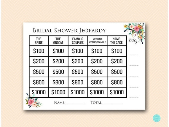 Garden Jeopardy Bridal Shower Who Knows The Bride Who Knows Etsy