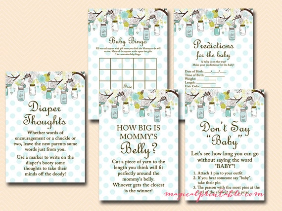 Mason Jars Baby Shower Games Printables Teal Mason Jar Baby Shower Rustic Baby Shower Games Boy Baby Shower Games Game Package Tlc16 By Baby Shower Ideas 4u Catch My Party