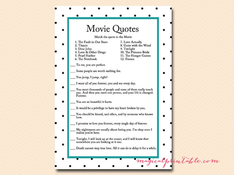 Movie Quote Movie Game Name That Movie Teal Black Dots Etsy