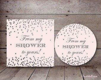 Silver and Pink Bridal Shower Favors, From my Shower to Yours tag, favor tags, Bridal shower favors, Baby shower favor,  TLC526 bs526
