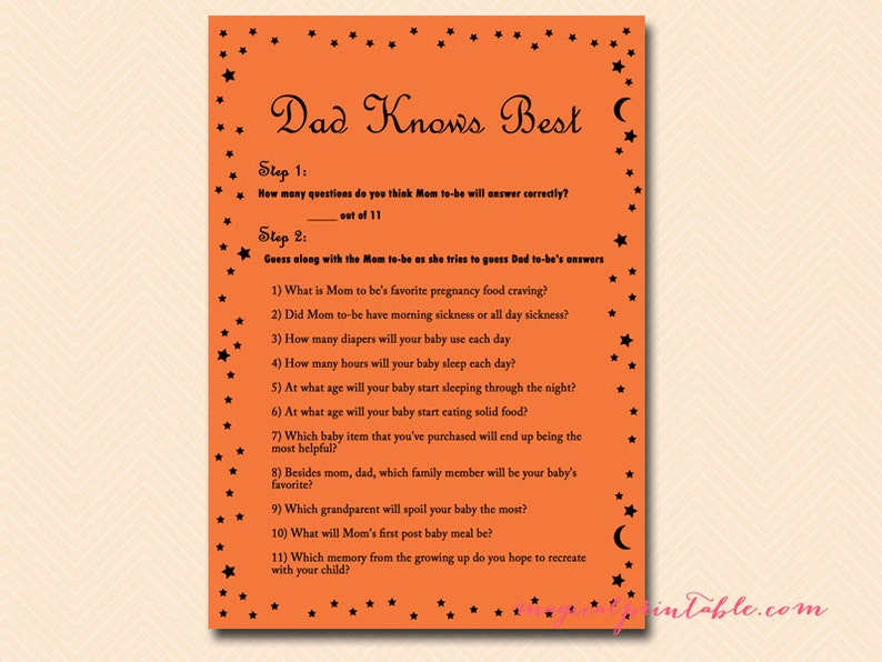 62cee076d4697 Dad knows best, Guess dad's answers, Autumn Baby Shower Games Printable,  Baby Shower Activities, Instant Download TLC90