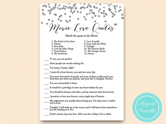 Silver Movie Quote Game Famous Quotes Bridal Shower Movie Etsy