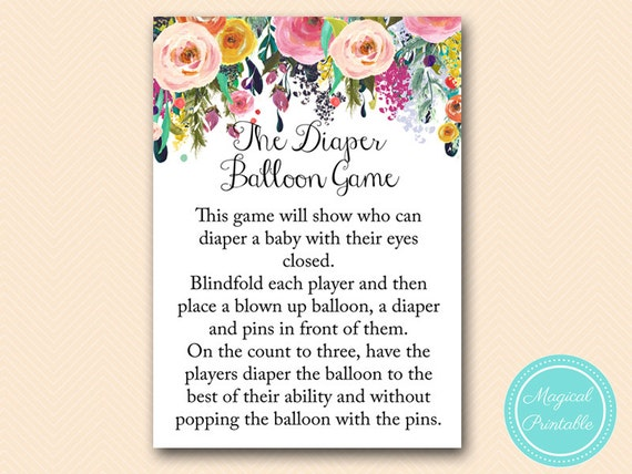 Diaper Balloon Game Co Ed Baby Shower Games Floral Shabby Etsy