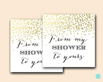 Gold Bridal Shower Favors, From my Shower to Yours tag, favor tags, Bridal shower favors, Baby shower favor, Thank you note BS472B TLC472 ds