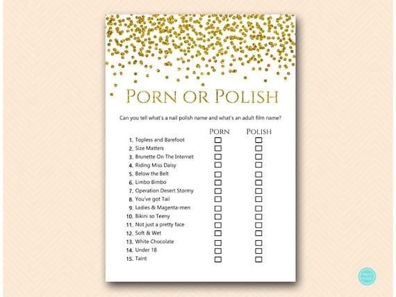 Gold Glam Polish Or Porn Bridal Shower Game Bachelorette  Etsy-2778