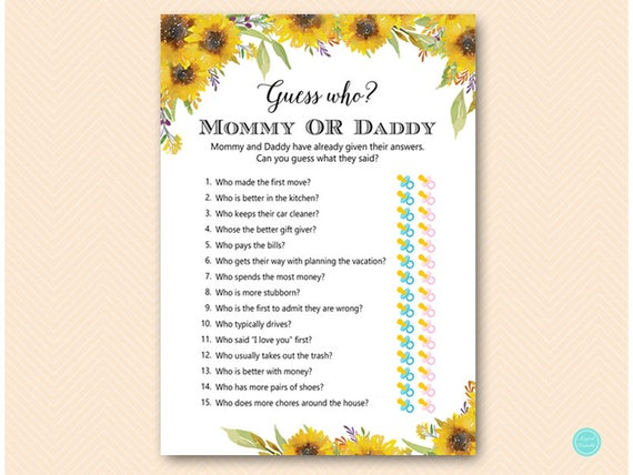 Summer Sunflower Mommy Or Daddy Game Guess Who Baby Shower Etsy