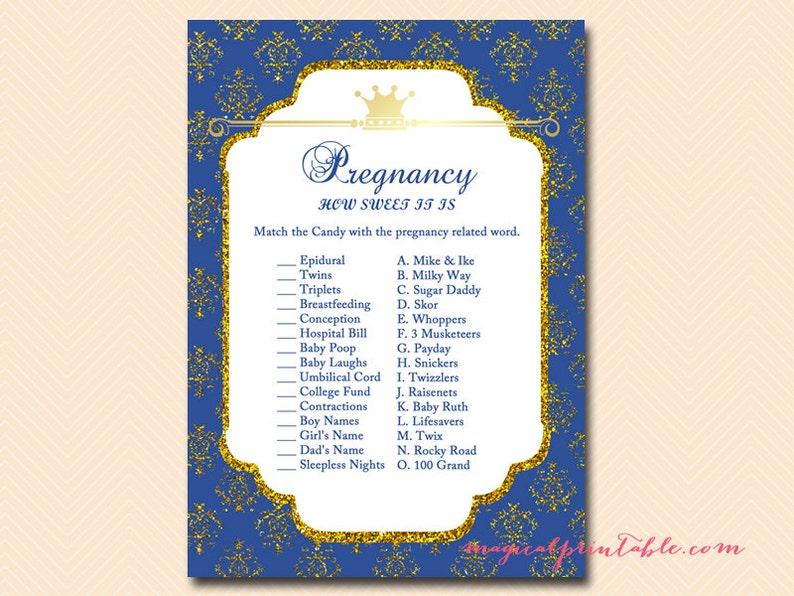 How sweet it is, pregnancy candy game, candy game, Prince Baby Boy, Royal  Prince Baby Shower Games Printable, Baby Shower TLC109