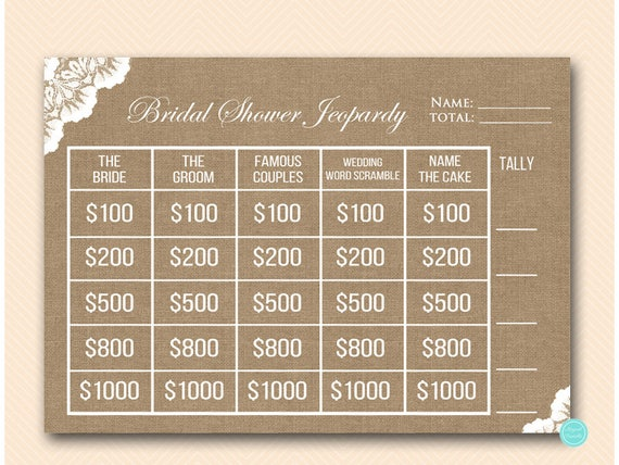 Burlap And Lace Jeopardy Bridal Shower Who Knows The Bride Etsy