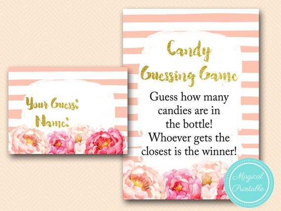 Candy Guessing Game Printable Guess How Many Candies In Jar Pink Baby Shower Game Girl Baby Shower Game Baby Shower Activities Tlc142 By Baby Shower Ideas 4u Catch My Party