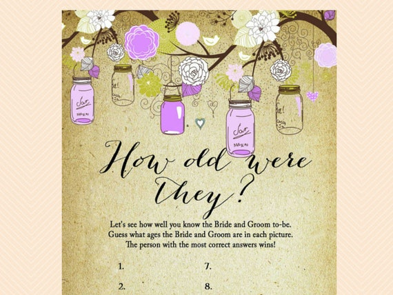 How Old Were They Guess The Age Photo Game Purple Mason Jars Bridal Shower Printables Bachelorette Wedding Shower Games Bs49 By Baby Shower Ideas 4u Catch My Party